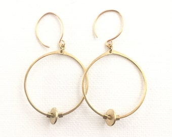 Brass Hoops and Discs Earrings