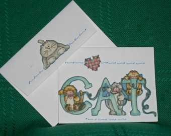 NOTECARDS--Spunky Cats in Fabric Applique