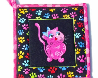 Cool Cats, quilted potholder, cooking potholder, handmade potholder, hotpad, kitchen potholder, fabric potholder, insulated potholder