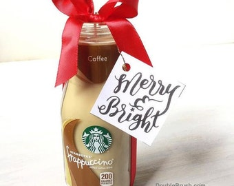 SALE 15% OFF Christmas Starbucks Coffee Gift Candle with choice of Hand Lettered Design Tag Coffee Scented Candle Shabby Chic Boho Decor