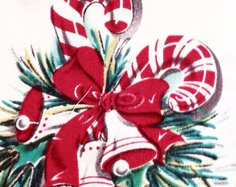 Christmas Candy Canes Vintage-style Cotton Fabric