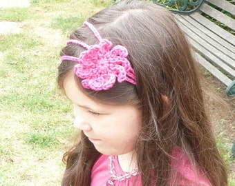Crochet Pattern 3 Strand Hairband with detachable Flower - Perfect Pink for Girls, Teens & Women
