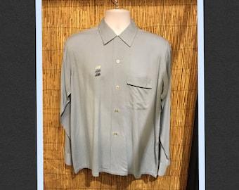 "Vintage 1950s two tone gabardine shirt Size medium 42"""