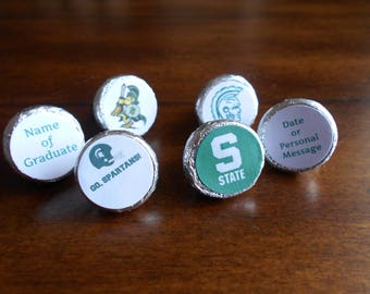 216 Michigan State Stickers for Chocolate Kiss Candy-PRINTED FOR YOU