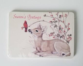 American Greetings Post Cards 1979 Deer Cardinal Set of 15 New Unopened Season's Greetings