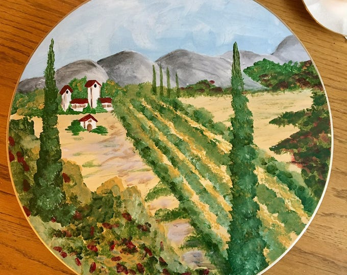 Tuscan Painted Lazy Susan, Painted Turntable, Whimsical Painted Lazy Susan, Tuscan home decor