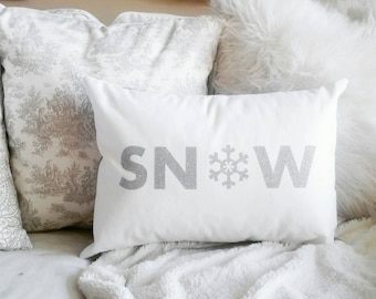 Silver Sparkle Snow Pillow - 12 x 16