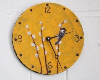 Golden Chickadee Needle Felted Clock