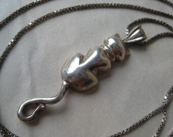 Cat Kitten Sterling Silver Necklace Vintage Pendant 925
