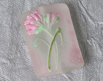 Artisan Lampwork Glass Bead Frosted Etched Pale Pink Blossom Floral Handmade Focal Bead Pink Enamel