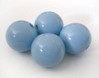 16mm Blue Periwinkle acrylic round beads - 6pcs