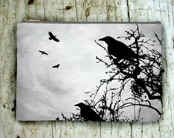 Cosmetic Bag Pouch Accessory for Purse Design 43 crow raven tree grey black by Lucie Dumas