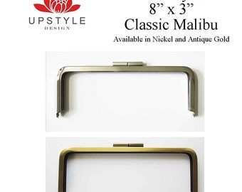"Set of 6 Metal Purse Frames - 8"" x 3"" Classic Malibu Style - Nickel or Antique Brass - Ships from USA"