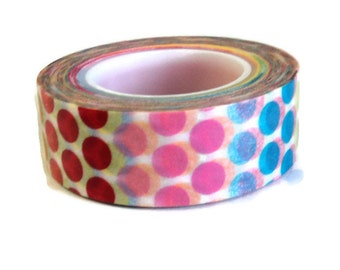 "Washi Tape, Multi Color Dots, Love My Tapes Brand, .5"" x 10 Yds., Pink Red Yellow Green Blue"