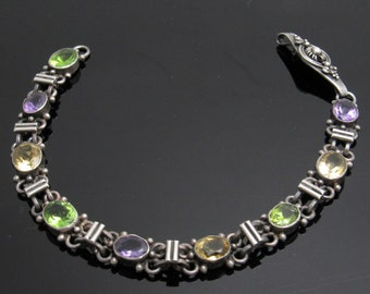 Sterling Bracelet Colorful Vintage Jewelry B6361