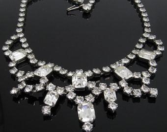 Vintage Rhinestone Bib Necklace Bridal Jewelry N7710