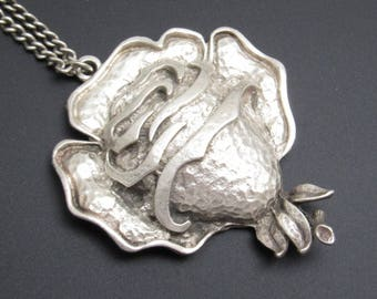 Large Rose Pendant Necklace Hammered Coro Vintage Jewelry N7752