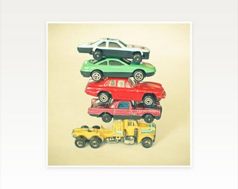 Car Nursery Art, Vintage Car Photograph, Retro Wall Art, Boys Bedroom Art - Pile Up