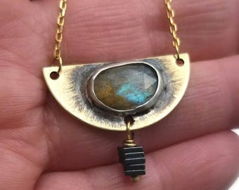 Bragwayn Series - Brass Crescent with Faceted Labradorite