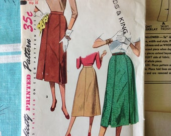 Simplicity 4414 1950's gored skirt pattern waist 26 hip 35