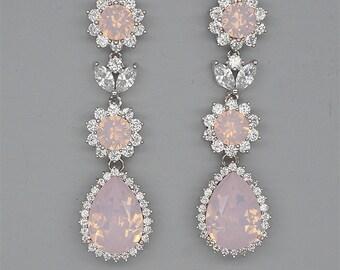 Pink Opal Earrings Blush Wedding Earrings Rhinestone Chandelier Earrings Swarovski Crystal Jewelry for Brides Silver Bridal Earrings