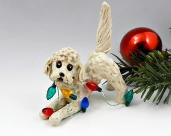 Golden Doodle Labra Doodle Christmas Ornament Figurine Lights Porcelain