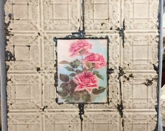 """Antique Recycled Tin Ceiling, Metal Picture Frame, 8"""" x 10"""" Light Mocha 532-16"""