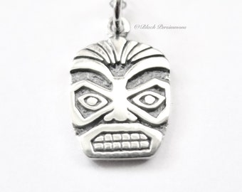 Sterling Silver Tiki Face Charm - Add A Chain Option Avaliable - Insurance Included