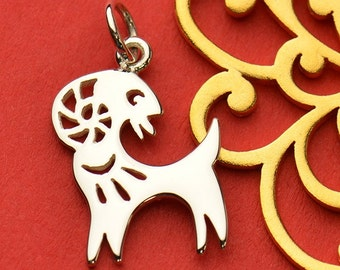The Goat Necklace - Solid 925 Sterling Silver Chinese Zodiac Year of the Goat Charm - Insurance Included