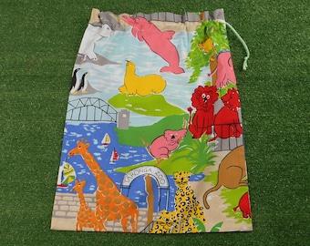 Taronga Zoo vintage fabric library bag, toy bag or kindy sheet bag, large unisex bag