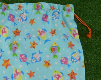 Fish aqua drawstring bag for library or toys, kids large cotton drawstring bag
