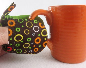 Hot Holders Microwave Oven Finger Mitts - Retro O's, Circles, Brown, Lime Green, Red, Orange, Magnetic Pot Holder, Mini Mitt, Microwave Mitt