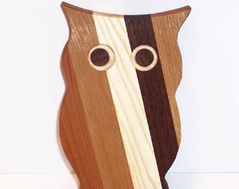Mini OWL  Cutting Board Handcrafted from Mixed Hardwoods