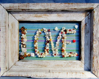 Blue and White Love Letters in Barn wood Frame,Pearls, Beads Buttons