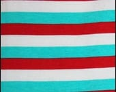 Knit CL aqua red and white stripes 1 yard