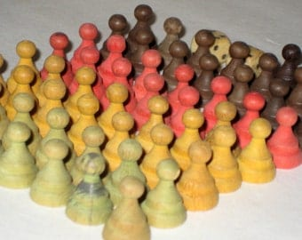 Antique (1889) Wooden Halma Game Pieces for Altered Art, Assemblage, Crafts, etc.