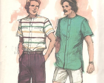 Butterick 3053 1970s Mens Designer Shirt and Shorts Pattern ROBERT STOCK Mans Vintage Sewing Pattern Chest 42 UNCUT