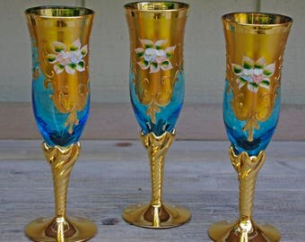 Czech Bohemian Blue Glass Goblets, Gold Gilt, Hand Painted, Wine, Champagne