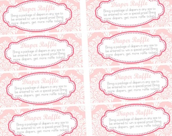 Diaper Raffle Insert Cards Bright Pink & Light Pink Baby Shower matching, Printable INSTANT DOWNLOAD