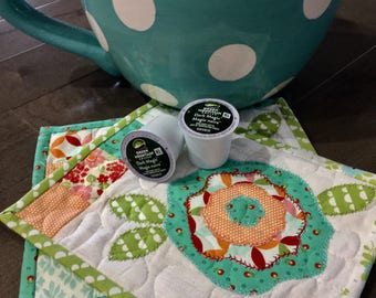 Quilted  Mug Rugs . . . CABBAGE ROSES . . . Retro Color Combination  . . . Larger Size