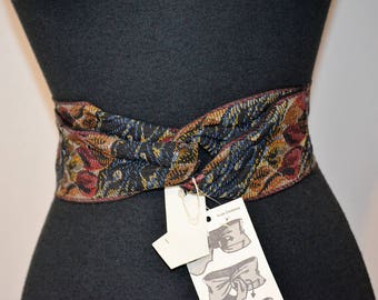 Vintage 80s 90s NOS fabric belt. Cinch Wrap. by Ruza. Tapestry Ribbon  leather trim. wrap knot belt. Floral print. 38 or less. Red autumn