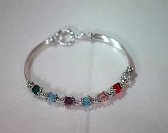 Swarovski Crystal Jewelry -  Mothers or Grandmothers Bracelet - Single-Strand - Up To 7 Crystals / Birthstones