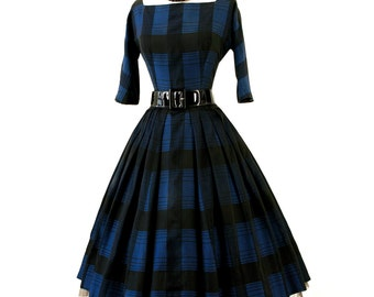 vintage 1950's dress ...classic new look GIGI YOUNG new york blue & black plaid full skirt pin-up cocktail party dress with crinoline