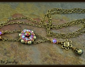 Beaded, Bead-woven, Beadwork, Swarovski Crystal Flower Necklace