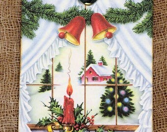 Retro Snowy Christmas Window Gift or Scrapbook Tags or Magnet #617