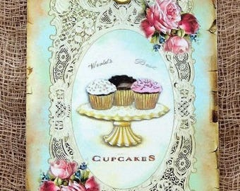 Cupcake Trio On A Platter Gift or Scrapbook Tags or Magnet #695