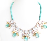 Opal and Mint Bib Necklace - Gold Pastel Necklace - Statement Bib - Champagne, Topaz, AB, Mint Turquoise Necklace - Pale Jade Czech Glass