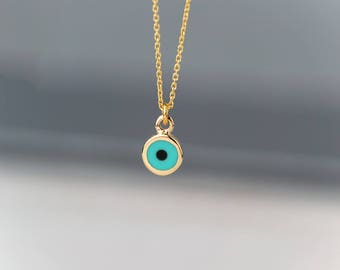 Extra Tiny Evil Eye Necklace Solid Gold Evil Eye Pendant Rose Gold 14k solid Gold Necklace Gift for Her Bridal necklace minimal necklace
