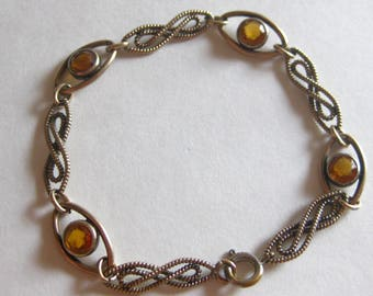 Art Deco 1930's Amber Glass Birthstone Bracelet Vintage Gold Tone Free Shipping