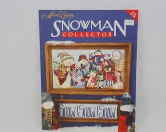 Snowman Collector counted cross stitch pattern
